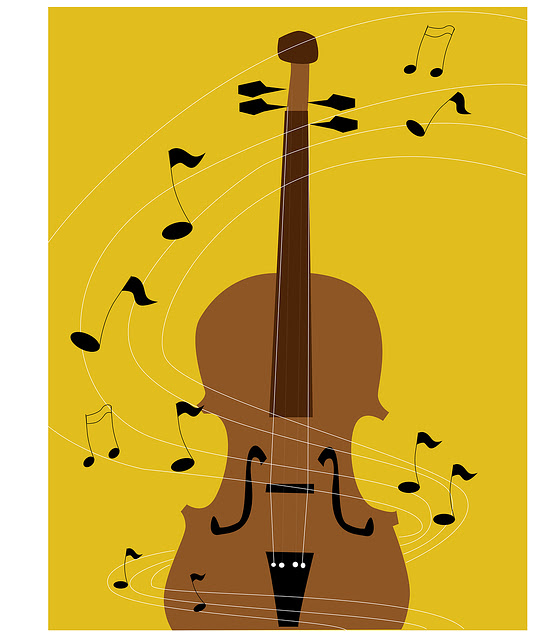 Upright Bass And Music Notes