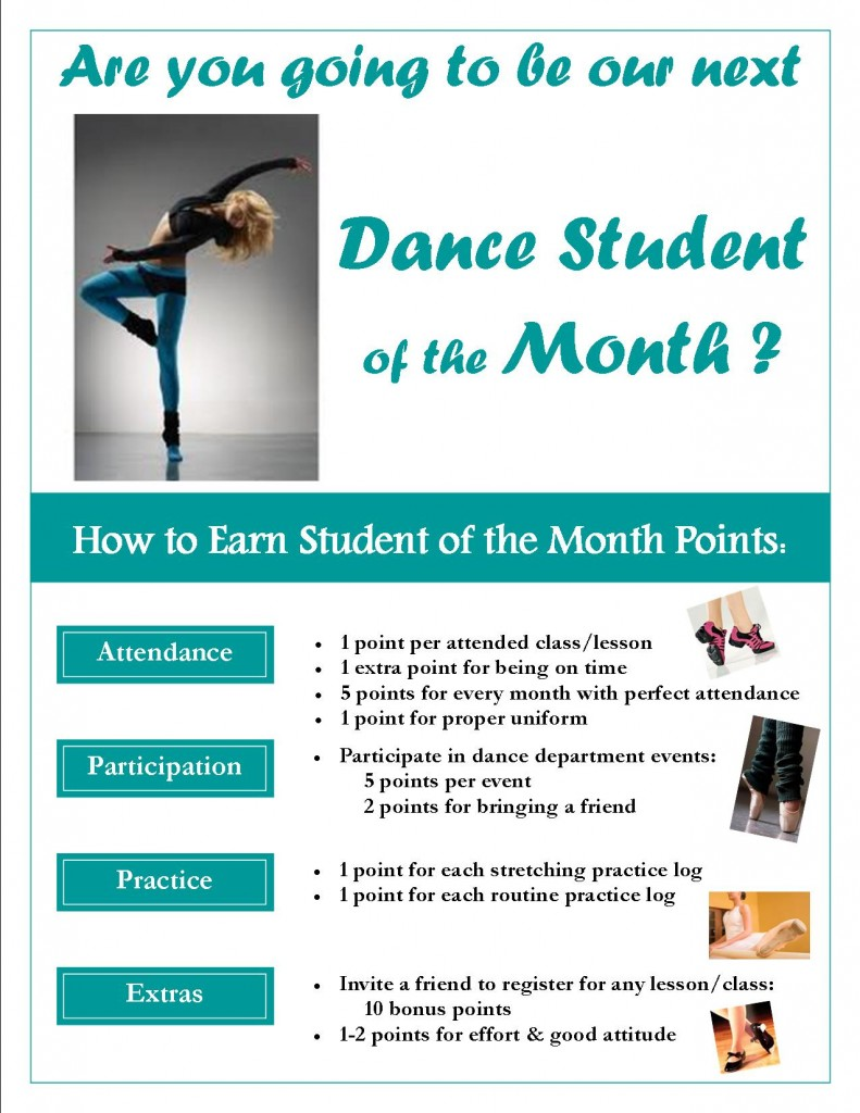 Student of the Month-Points Flyer-DANCE